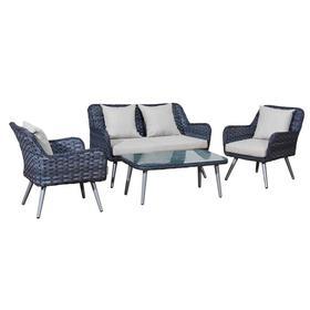 Meble ogrodowe Modesto sofa + 2 puty + ława szary melanż technorattan