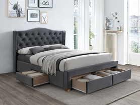Łóżko z szufladami Aspen II szary velvet 160x200 signal