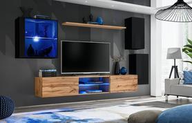 Meblościanka Switch 23 czarny - wotan mat/połysk + LED