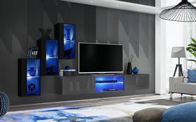 Meblościanka Switch 22  czarny - grafit mat/połysk + LED