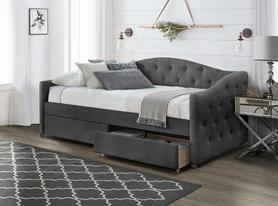 Łóżko sypialniane Aloha 90x200 popiel tkanina velvet/drewno szuflady Halmar
