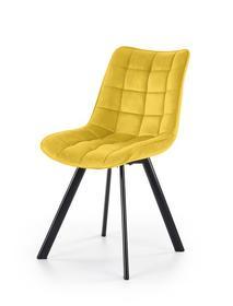 Krzesło K-332 musztardowy/czarny tkanina velvet/stal Halmar
