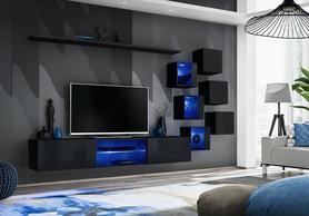 Meblościanka Switch 21 czarny połysk + LED