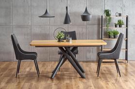 Rozkładany stół Derrick 160(200)x90 dąb/czarny mdf/okleina/stal Halmar