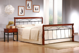 Łóżko sypialniane Veronica 160x200 czereśnia antyczna/czarny Halmar