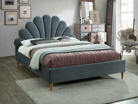 Łóżko sypialniane Santana 160x200 szary velvet/dąb drewno signal