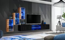 Meblościanka Switch 22 wotan - czarny mat/połysk + LED