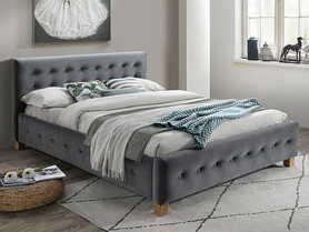 Łóżko sypialniane Barcelona 160x200 szara tkanina velvet/dąb drewno  signal
