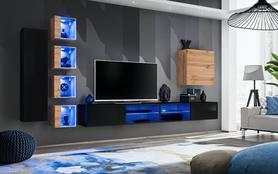 Meblościanka Switch 26 czarny - wotan mat/połysk + LED