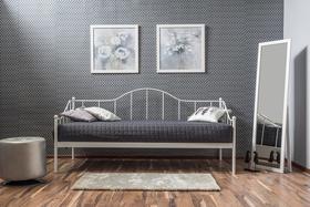 Łóżko, leżanka dover 90x200 biel metal signal