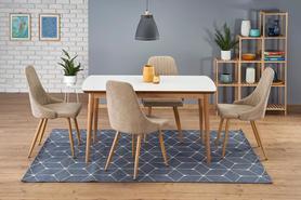 Rozkładany stół Bradley 140(185)x80 biały mat/dąb lefkas mdf/drewno Halmar