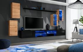 Meblościanka Switch 25 wotan - czarny mat/połysk + LED