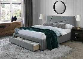 Łóżko sypialniene Valery 160x200 popiel/orzech tkanina/drewno Halmar