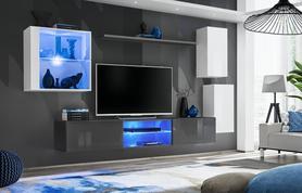 Meblościanka Switch 23 biały - grafit mat/połysk + LED