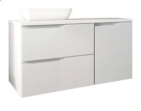 Szafka łazienkowa Nicea DUM 100 cm z umywalką biel połysk