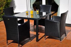 Meble ogrodowe Pazzo stół + 4 krzesła czarny technorattan