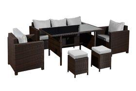 Meble ogrodowe Strano sofa + 2 fotele + 2 puty + stół brąz technorattan
