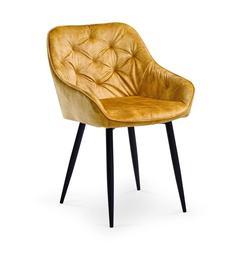 Krzesło k-418 musztardowy tkanina velvet/stal Halmar