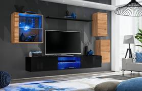 Meblościanka Switch 23 wotan - czarny mat/połysk + LED