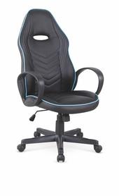 Fotel gabinetowy Scoty czarny/niebieski eco skóra/tkanina Halmar
