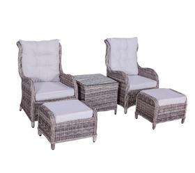 Meble ogrodowe Secondo 2 fotele + pufy + ława technorattan brąz