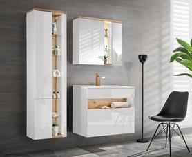 Meble łazienkowe z umywalką 80 cm Bahama White biel alpejska / wotan + LED