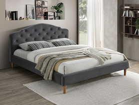 Łóżko sypialniane Chloe 160x200 szara tkanina velvet/dąb drewno signal