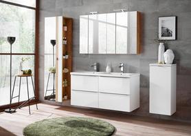 Meble łazienkowe z umywalką 120 cm Capri biały połysk/dąb craft złoty+ LED