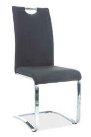Krzesło H-790 czarna tkanina/chrom płozy signal