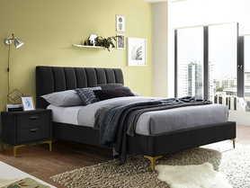 Łóżko sypialniane Mirage 160x200 czarny velvet/złoty metal signal