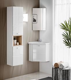 Meble łazienkowe z umywalką narożną Finka biel/dąb sonoma