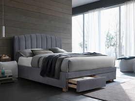 Łóżko sypialniane z szufladami Emotion 160x200 szara tkanina velvet/dąb drewno signal