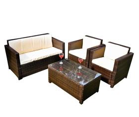 Meble ogrodowe CALMO sofa + 2 fotele + ława technorattan