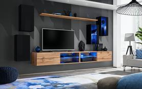 Meblościanka Switch 25 czarny - wotan mat/połysk + LED